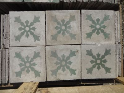 Croix Fleurie - carreaux ciment anciens - salvage concrete tiles - reclaimed cement tiles