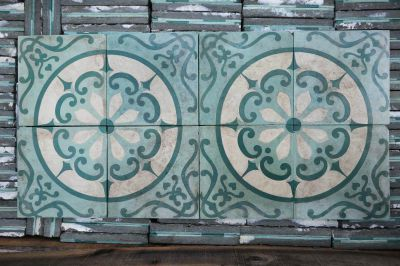 Fleur Solaire Jaune - carreaux ciment anciens - salvage concrete tiles - reclaimed cement tiles