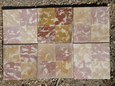 Damier Jaune & rouge essuyé - salvage concrete tiles - reclaimed cement tiles